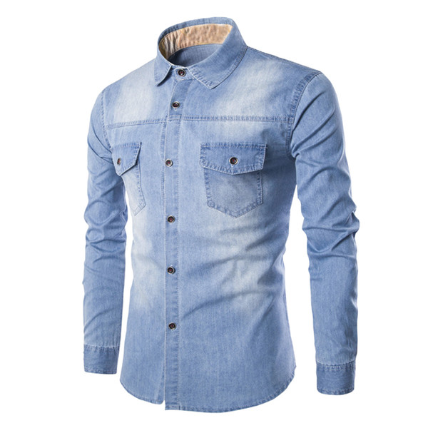 Wholesale- 2017 Long Sleeve Washed Blue Denim Shirts Men Casual Slim Fit  Tops Man Cowboy Jeans Shirt Cotton Camisa Masculina Chemise Homme b4ae3b2a970