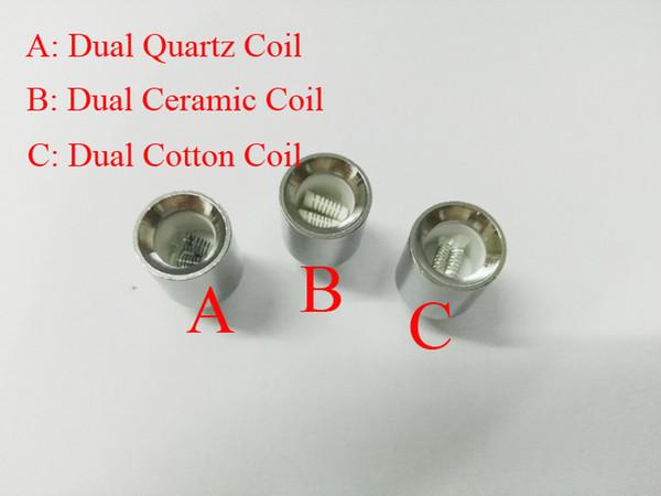 Aggiornamento Dual coil in cera per cannone vaporizzatore atomizzatore vape doppia bobina dual coil Quarzo Ceramic rod wax Glass globe metal vase cartomizer