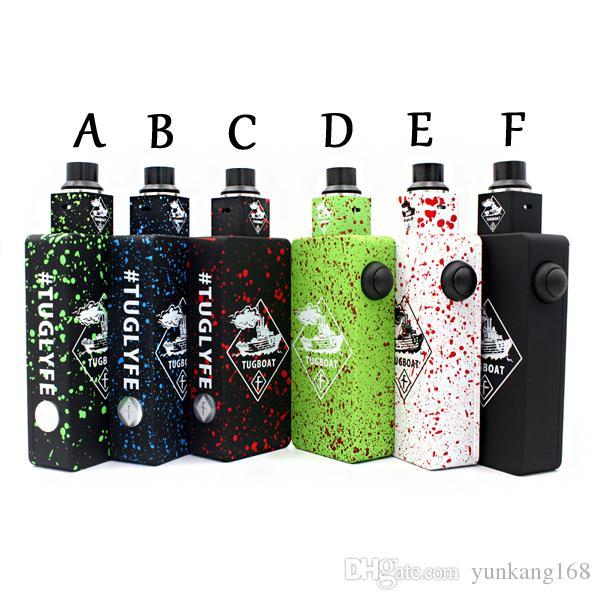 Tug boat Box Mod Kit with Tug boat Cubed RDA Atomizers Tuglyfe Unregulated Box Mod Starter Kit fit Dual 18650 battery DHL freeshipping