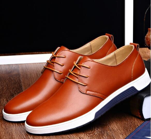 New Men Casual Shoes Leather Breathable Holes Luxury Brand Flat Shoes drees shoes for MenEpacket free shipping size EU37-48