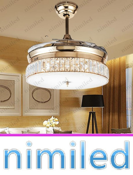 top popular nimi931 Invisible Ceiling Fan Lights Living Room Crystal Lamp Dinning Room Restaurant Modern Minimalist Chandelier Luxury Pendant Lighting 2021