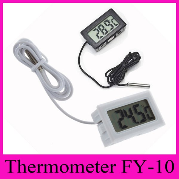 best selling FY-10 Digital Thermometer Embedded Professinal Mini LCD Temperature Sensor Fridge Freezer Thermometer -50~110C Controller Black   White 2018