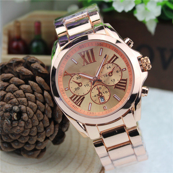 Hombres Relojes de Pulsera Hombres Casual Cuarzo de Acero Completo Roma Palabra Dial Estilo Reloj de Cuarzo Tira de Acero Dial Grande Hombres Relojes al por mayor