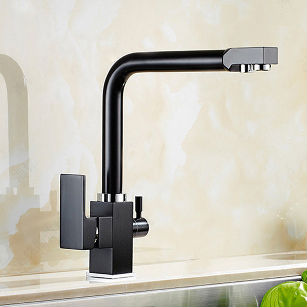 Free Shipping Dual Handles Kitchen Tap with Copper Chrome Matte Black And Tri Flow Sink Mixer Osmosis 3 Way Water Filter Tap