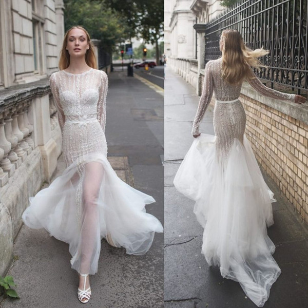 Riki Dalal 2017 Mermaid Backless Wedding Dresses With Long Sleeve Jacket Luxury Crystal Lace Bridal Gowns Sweep Train Country Wedding Dress
