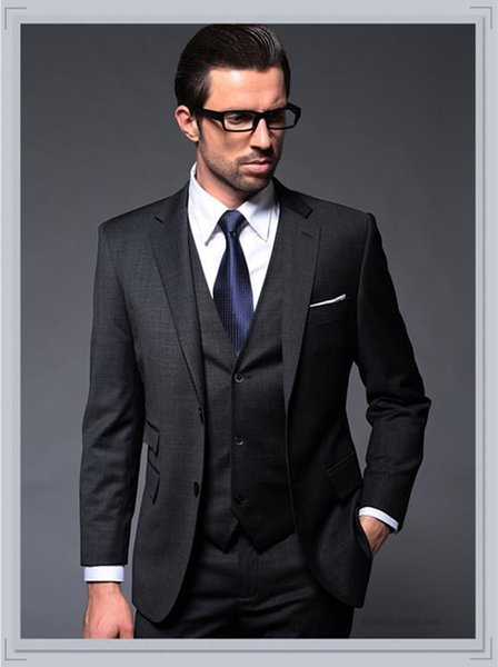 ew Design Two Buttons Charcoal Groom Tuxedos Notch Lapel Groomsmen Men Wedding Tuxedos Dinner Prom Suits (Jacket+Pants+Vest)