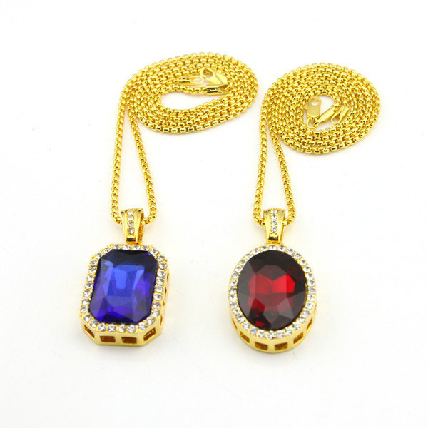 top popular Double Layer Necklace pendant Iced out ruby black color stone pendant 24inch 30inch box chain necklace 2020