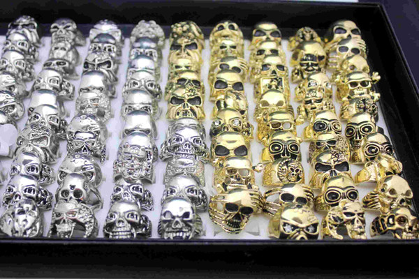top popular Newest 24pcs Vintage Skull Carved Biker Metal Ring Men Band Jewelry ring Gold Silver Colors Size 7-11 Wholesale lots 2020