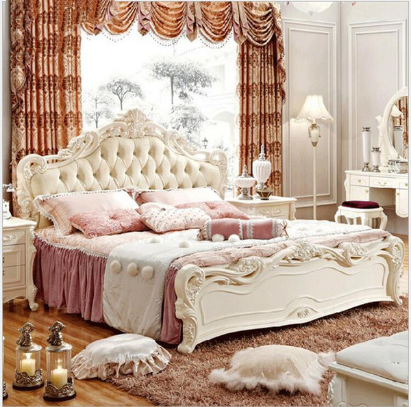 hot selling modern european solid wood bed Fashion Carved 1.8 m bed french bedroom furniture 6589