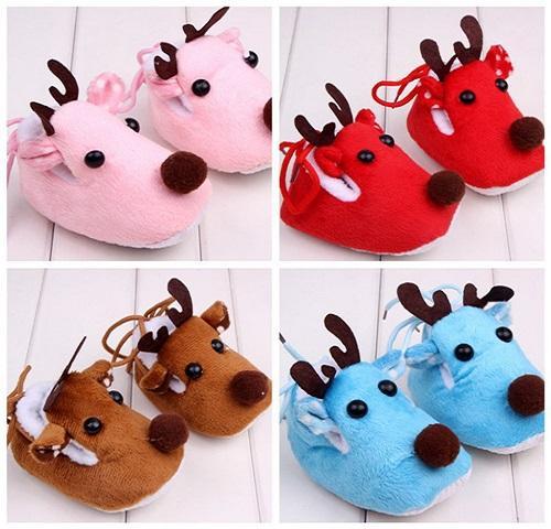 Christmas Slippers New Design Cartoon Baby Shoes First Walker Winter Warm Girls Shoes Christmas Deer Newborn Kids Boots Sneakers Slippers