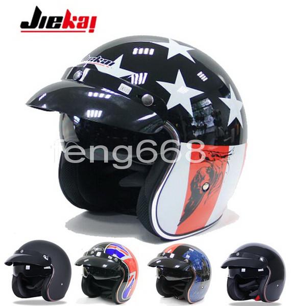 2016 New JIEKAI Harley style motorcycle helmet electric bicycle vintage Prince half face motorbike helmets Captain America hat of ABS