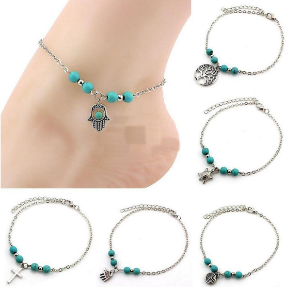 best selling 6 Styles Bohemian Turquoise Anklets Women Beach Foot Chains Cross Tree Turtles Conch Fatima's Hand Anklet For Ladies Fashion Jewelry
