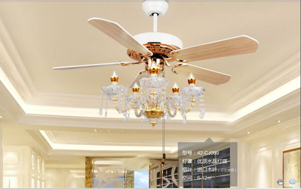 best selling Crystal ceiling chandelier lamp fan restaurant Fan lamp crystal chandelier Fan lights continental simple American 52inch