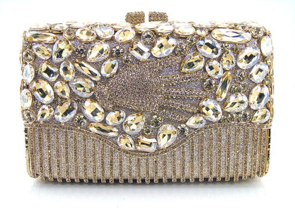 2016 new fashion brand AS14-1 GOLD COLOUR free shipping 100% handmade crystal flower shape women purses day evening bags and clutches