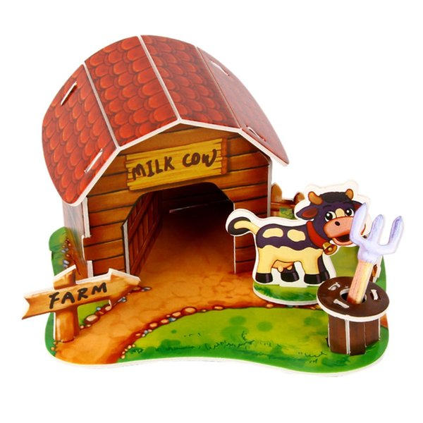 Wholesale-3D Paper Puzzle Handmade Assembled Cartoon Pet Animal House Model DIY Children's Kids Toy Birthday Gift Creative Puzzles