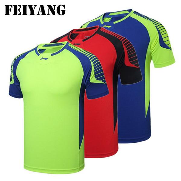 Li-Ning camiseta hombres Mujeres tenis de mesa jerseys, 2017 nueva rápida seca transpirable Li Ning camisetas de bádminton rojo azul verde M-4XL envío gratis LH49