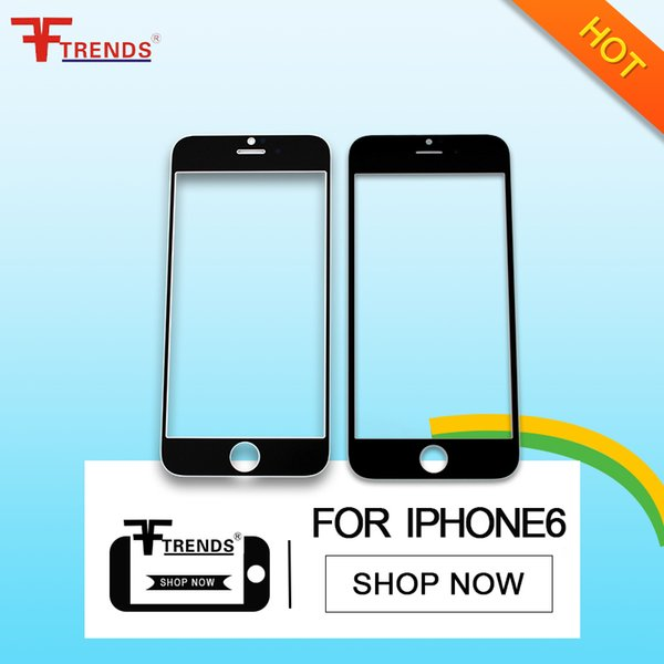 for iPhone 6 Front Outer Glass Lens Replacement Glass Touch Screen Repair Parts Black White Free Shipping High Quality 100% Tested