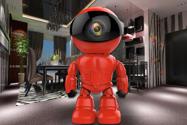 960P Red Robot IP Camera WIFI Baby Monitor 1.3MP Wireless CCTV IR Leds Remote Home Smart Monitoring TF Card Indoor Surveillance Free DHl