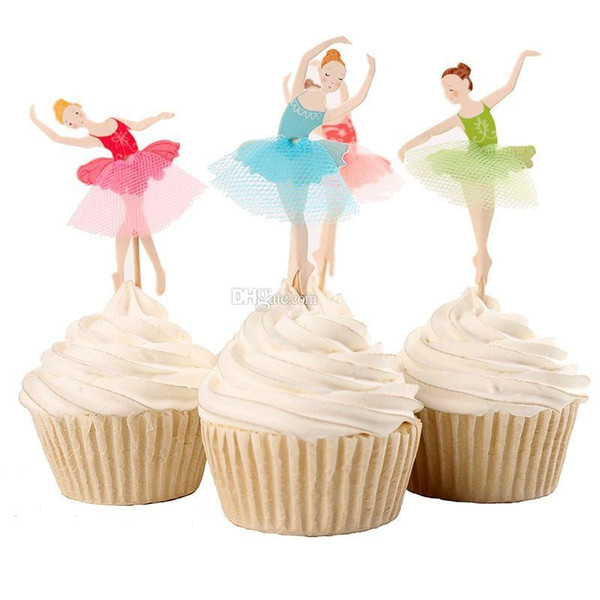 Beautiful Ballet Girl Cupcake Wrappers Decorating Inserted Card Stands For Birthday and Xmas Decoration Supplies free shipping