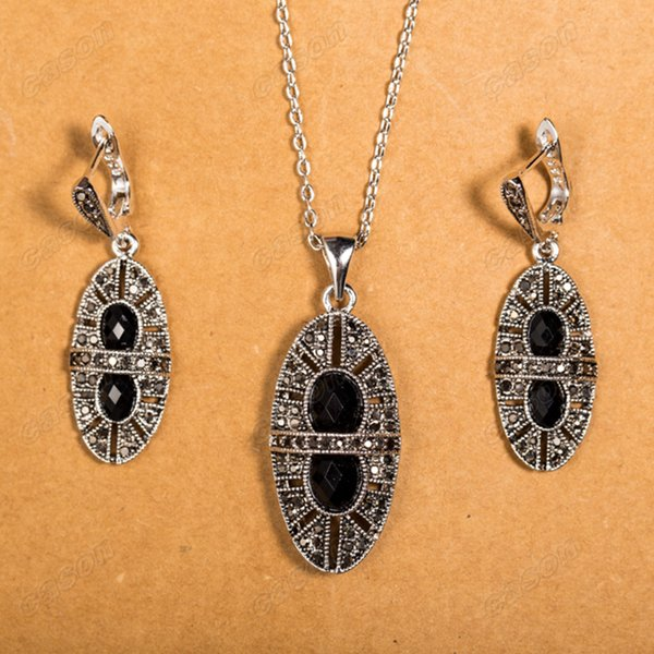 Cason Vintage Statement Jewelry Sets Retro Thai Silver Plated Black Zircon Pendant Necklaces & Earrings Jewelry sets Drop Shopping XS120