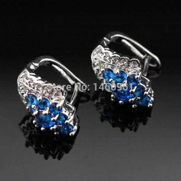 Safira azul Topázio Branco Brinco de argola Mulheres Prata Sapphire Jóias Presente de Natal Caixa De Jóias Livre HE04