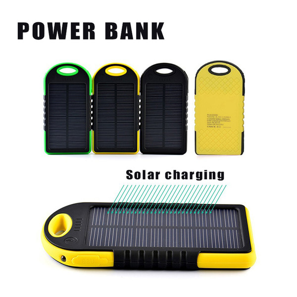 5000mAh Solar Power Bank External Battery Waterproof Shockproof Portable Phone Charger for iPhone 7 Plus Samsung with Retail Package