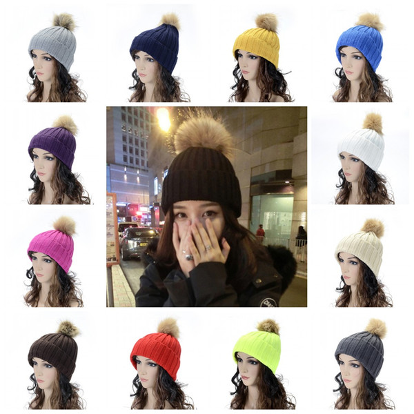 Moda sin aleros gorras de piel de conejo de imitación Pompon línea de lana sombrero de ganchillo tejer Beanie para mujeres 6 8bd B