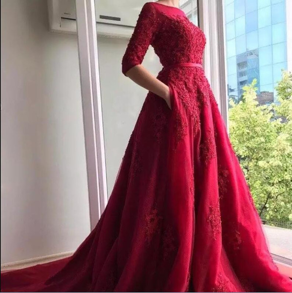 Vintage Half Sleeves Burgundy Evening Dresses Formal Arabic Dubai Style Puffy Long Train Robes Appliqued Sheer Prom Gowns