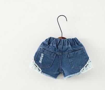 Enfants d'été Denim Shorts Fille coréenne Short en dentelle Jeans pour enfants Hot Pants 90-130 Taille 5pcs / lot Usine Vente Enfant Vêtements vague 5PIECE