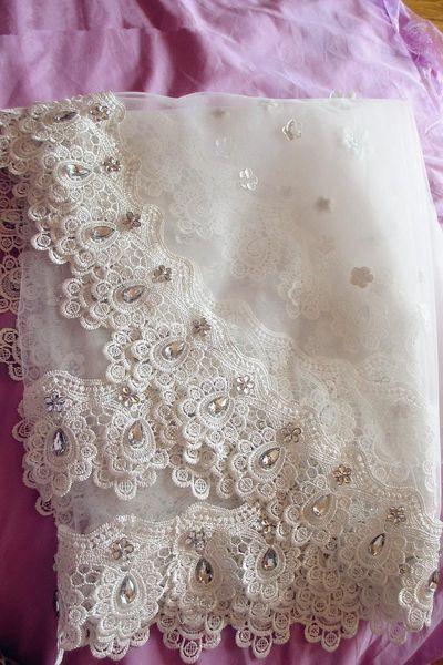 Amazing For Wedding Dresses Fashion Designer Cathedral White Ivory Lace Edge 3 Meters Long Bridal Veil velo Muslim Bridal Veils