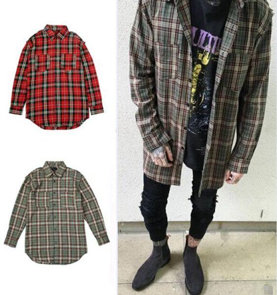 streetwear punk tartan brand clothing men clothes korean extended green/red checkered plaid shirt dress new model shirts