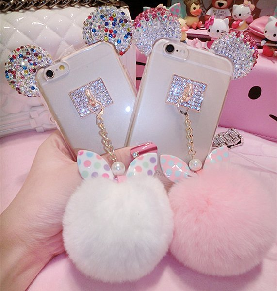 Wholesale-Hot selling New Rabbit Pom Pom Fur Ball Bow Cell Phone Keychain Pendant Charm Key Chain Mirror Case For iPhone