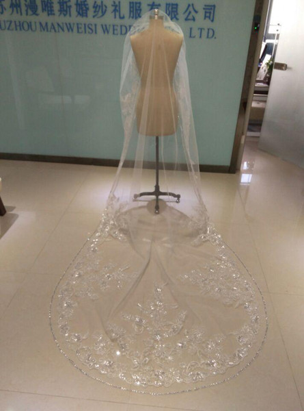 2019 One Layer Wedding Veils 3 Meters Long Cathedral Length Rhinestones Beaded Real Image Tulle Bridal Veil With Comb