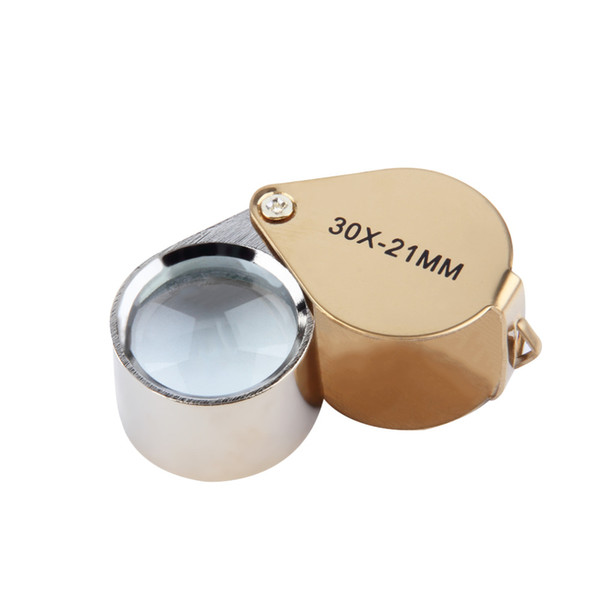 Wholesale-Popular New 30x Power 21mm Jewelers Magnifier Magnifying glass Eye Loupe Jewelry Store Gold Lowest Price New