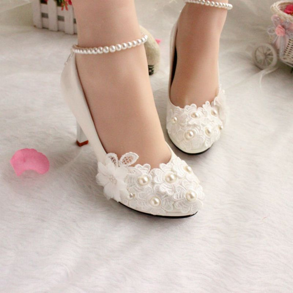 White show pictures of dance shoes low heels red wedding Bridesmaid Korean Pearl Princess Shoes spring