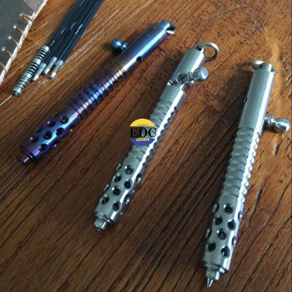 Açık TC4 Titanyum Tüfek Cıvata Tükenmez yazma Kalem El Yapımı Kavrulmuş çok renkli EDC defansif Survive Taktik kalem İşlevli Araçları