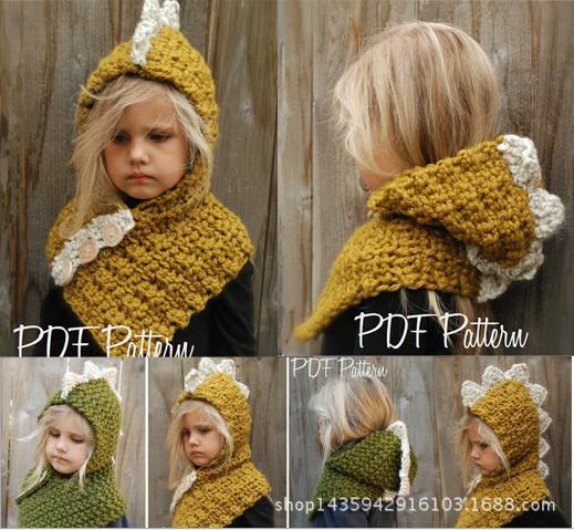Niños encantadores dinosaurio invierno sombreros a prueba de viento con bufanda conjunto niños crochet Gorro suave de punto hecho a mano bebé gorros de invierno