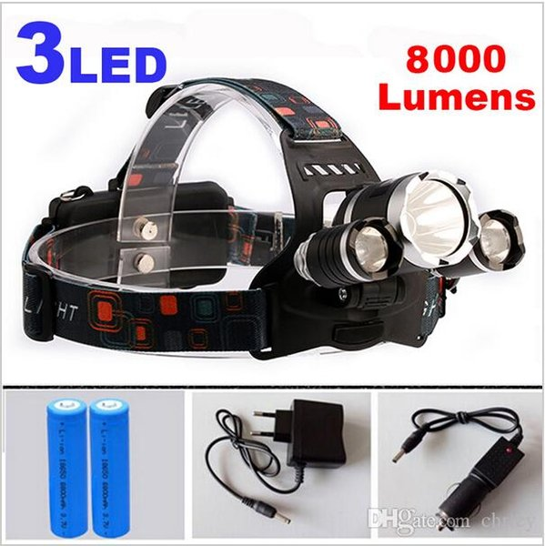 8000Lm CREE XML T6 + 2R5 LED Phare Phare Lampe frontale LED Phare LED 4-mode torche + 2x18650 batterie + chargeur Lumières de pêche