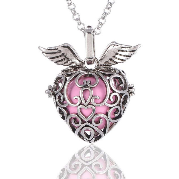 best selling Heart Strawberry Sound pearl cage lockets Pendant Necklaces Opening floating Sound bead Lockets necklace For pregnant woman Jewelry