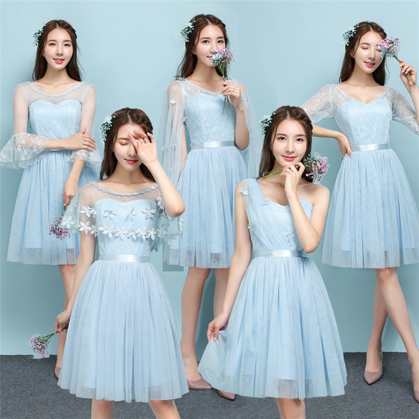 2018 New Sky Blue Short Bridesmaid Dresses Women Wedding Prom Party Cocktail Elegant Evening Gowns Beautiful Cheap Dresses