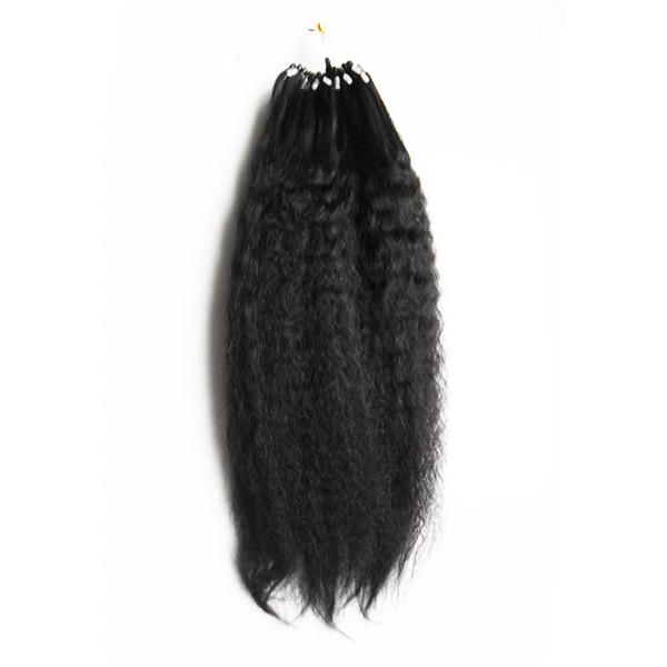 Grado grueso del pelo humano de Yaki Loop 8a + micro Extensiones de pelo del anillo del lazo Paquetes del pelo humano Extensiones rectas de Yaki 100g / pc 10