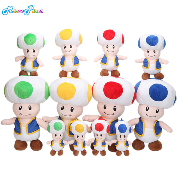4pcs/lot 10-16'' Super MARIO Bros Mushroom Toad Plush Toy Doll Pendants Hook Stuffed Animals Kid Gifts 4colors In Stock