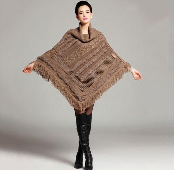 Eccezionale nero cappotto grigio di lana poncho con mantelle lunghe pelliccia  FF14