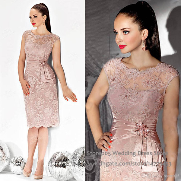 best selling Free Shipping 2019 Sexy Illusion Mother Dress Knee Length Lace Appliques Beaded Evening Dress Mother of the bride Dresses For Wedding