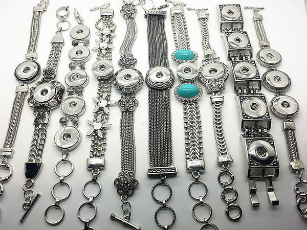 Brand New 10 Pieces Antique Silver 18mm Ginger Snap Button Chunk Charm Cuff Bracelets Wholesale Lots