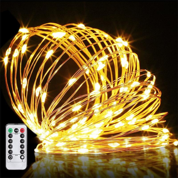Remote Control Led Copper Wire String Lights Warm White 3aa Battery Led Strings 5w5m 16feet 50leds Waterproof Ip65 Decoration Led String Lights Indoor