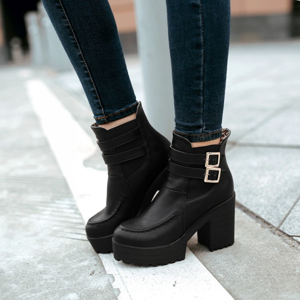 2017 autumn winter women boots thick high heels Round toe Martin Boots fashion Buckle ankle boots size 35-39