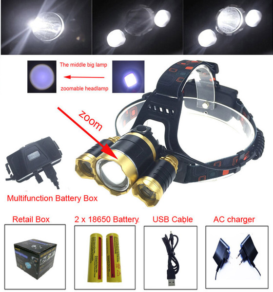 8000Lm 3* XM-L T6R5 4 Modes Led Headlamp zoomable Headlight Light linternas frontales cabeza for Camping + AC Charger