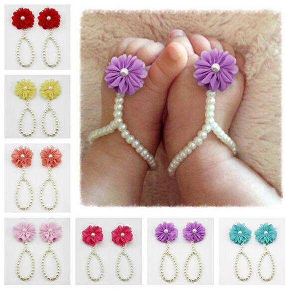 2016 Newborn Baby Girls Flower Sandals Pearl Flower Foot Band Toe Rings First Walker Barefoot Sandals Anklets Kids Accessories
