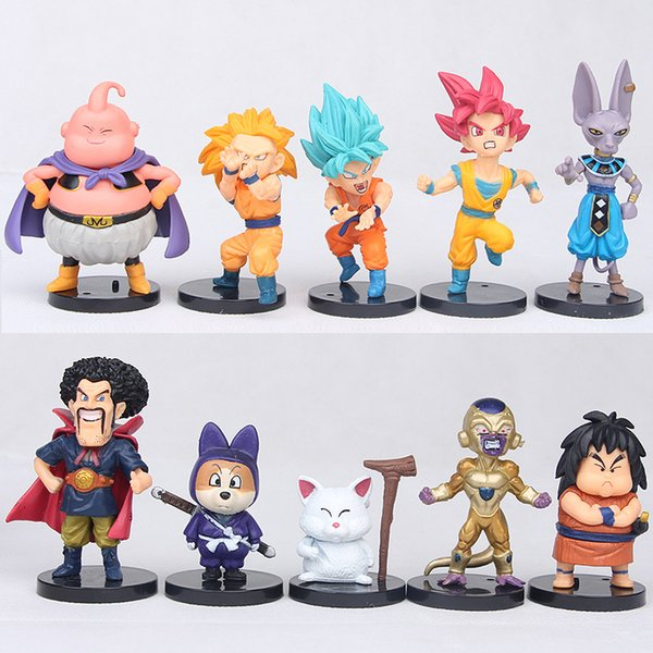 Dragon Ball Super 10 pieces / set. Hercule Goku Buu Figurine 1/10 scale painted rice Karin Beerus Doll PVC Figure Toys Brinquedos Children G
